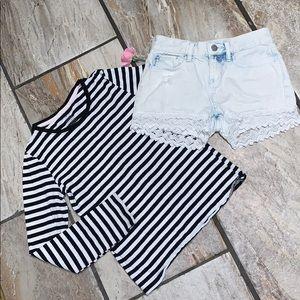 Girls Striped Top & Jean Short Combo